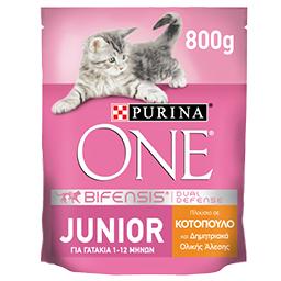 Γατοτροφή Junior Κοτόπουλο & Δημητριακά 800g