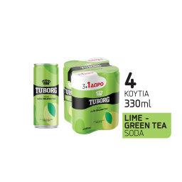 Αναψυκτικό Σόδα Lime & Πράσινο Τσάι Κουτί 4x330ml 3+1 Δώρο