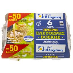 Αυγά Ημέρας Ελευθέρας Βοσκής 6 Τεμ. Έκπτωση 0.5Ε