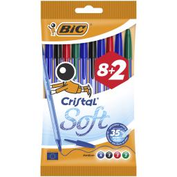 Στυλό Cristal Soft 1.2mm Διάφορα Χρώματα 8+2 Τεμάχια