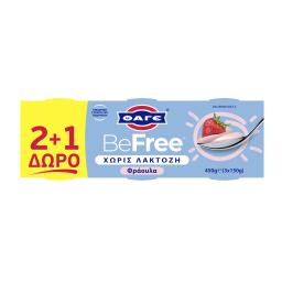 Επιδόρπιο Γιαουρτιού BeFree Φράουλα Χωρίς Λακτόζη 3x150g 2+1 Δώρο