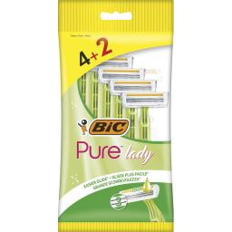 Ξυραφάκια Μιας Χρήσης Pure Lady 4+2 Τεμάχια Δώρο