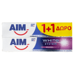 Οδοντόκρεμα White System Enamel 75ml 1+1 Δώρο 1+1