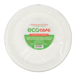 Πιάτα Βιοδιασπώμενα 23cm Λευκά 10 Τεμάχια