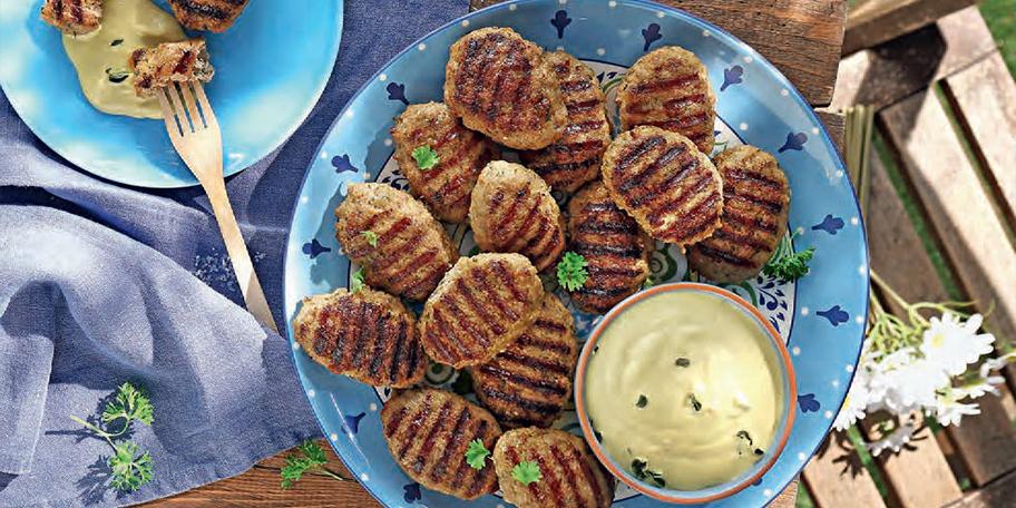 Χοιρινά πικάντικα μπιφτεκάκια με σάλτσα μουστάρδας