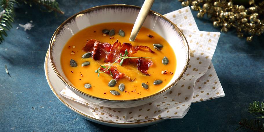 Σούπα κολοκύθας με κόκκινες φακές και κουρκουμά